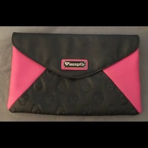 LOUNGEFLY Pink & Black Skull Embossed Clutch Purse